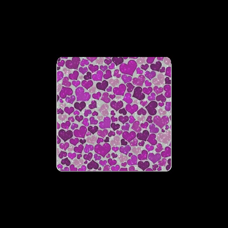sparkling hearts purple Square Coaster