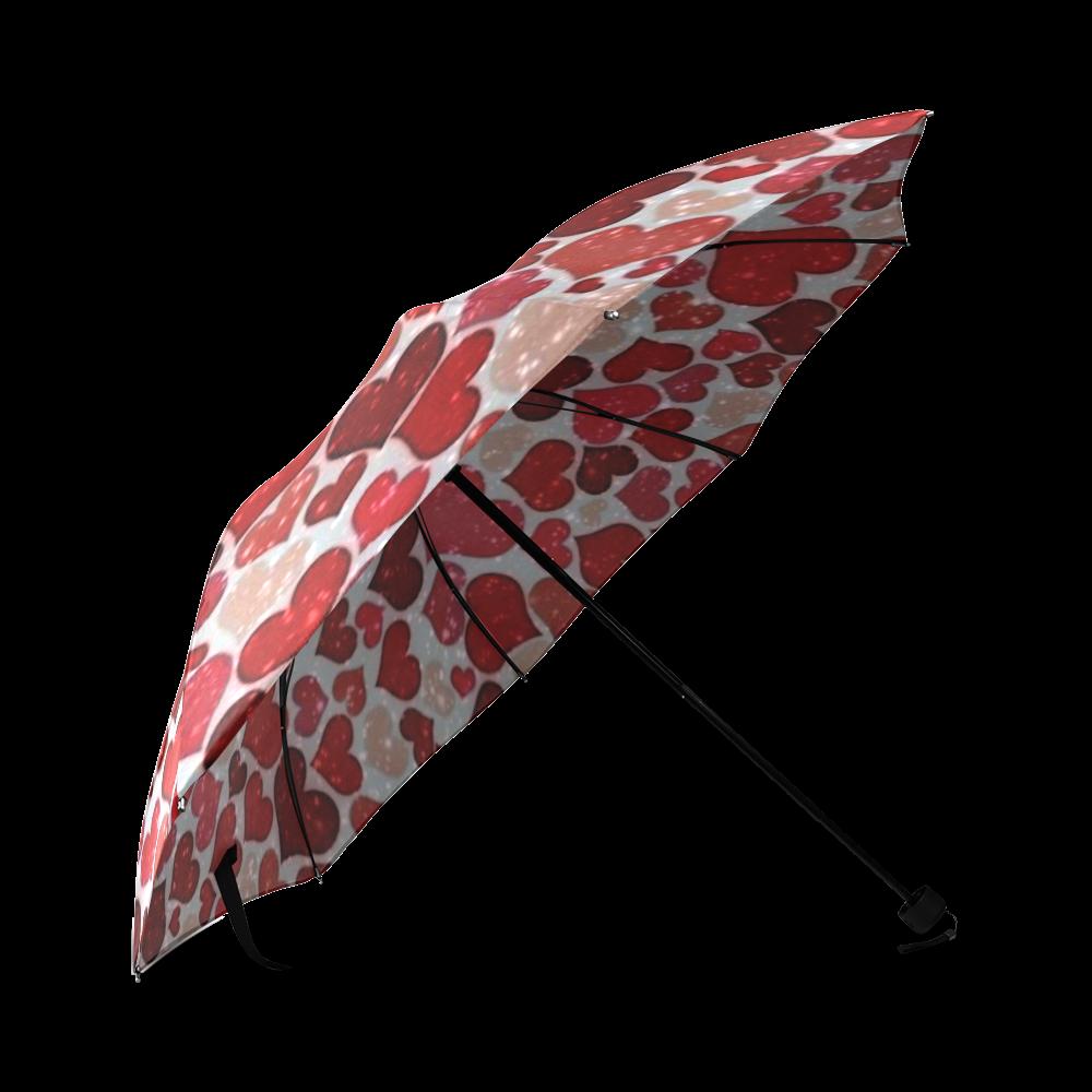 sparkling hearts, red Foldable Umbrella (Model U01)