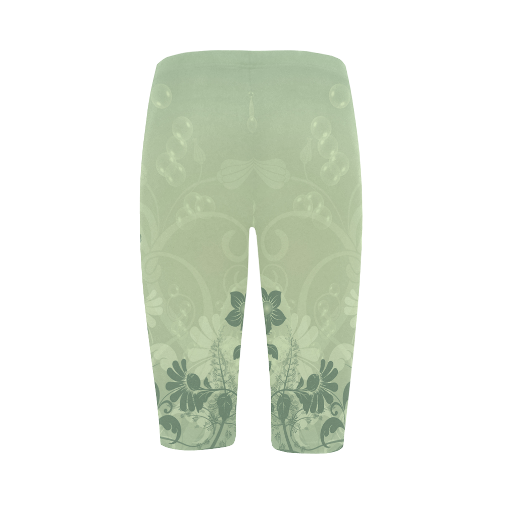 Wonderful soft green flowers Hestia Cropped Leggings (Model L03)