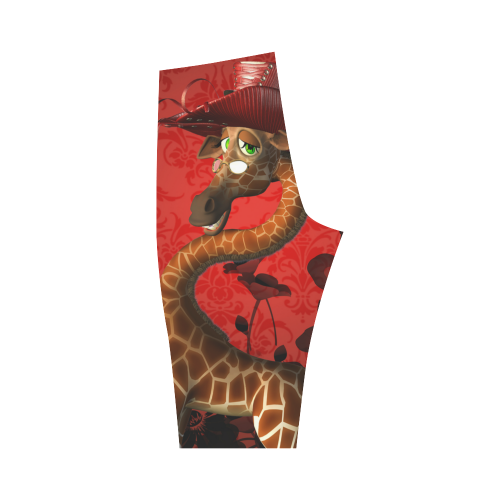 Funny giraffe, I am a lady Hestia Cropped Leggings (Model L03)