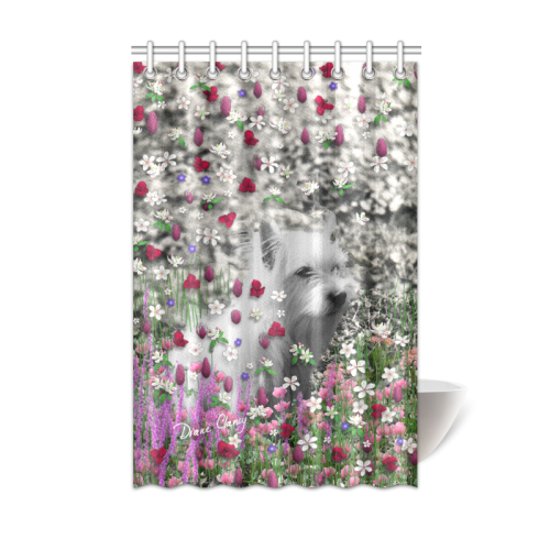 """Violet in Flowers West Highland White Terrier Dog Shower Curtain 48""""x72"""""""