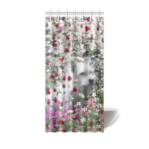 """Violet in Flowers West Highland White Terrier Dog Shower Curtain 36""""x72"""""""