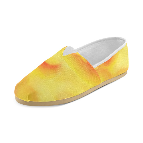 yellow orange red water color abstract art Unisex Casual Shoes (Model 004)