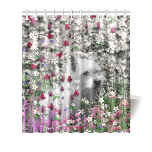 """Violet in Flowers West Highland White Terrier Dog Shower Curtain 66""""x72"""""""