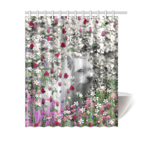 """Violet in Flowers West Highland White Terrier Dog Shower Curtain 60""""x72"""""""