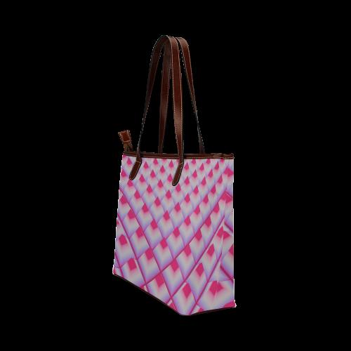 Pink 3D Pyramids Shoulder Tote Bag (Model 1646)