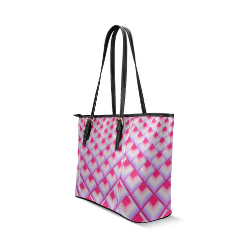 Pink 3D Pyramids Leather Tote Bag/Large (Model 1640)