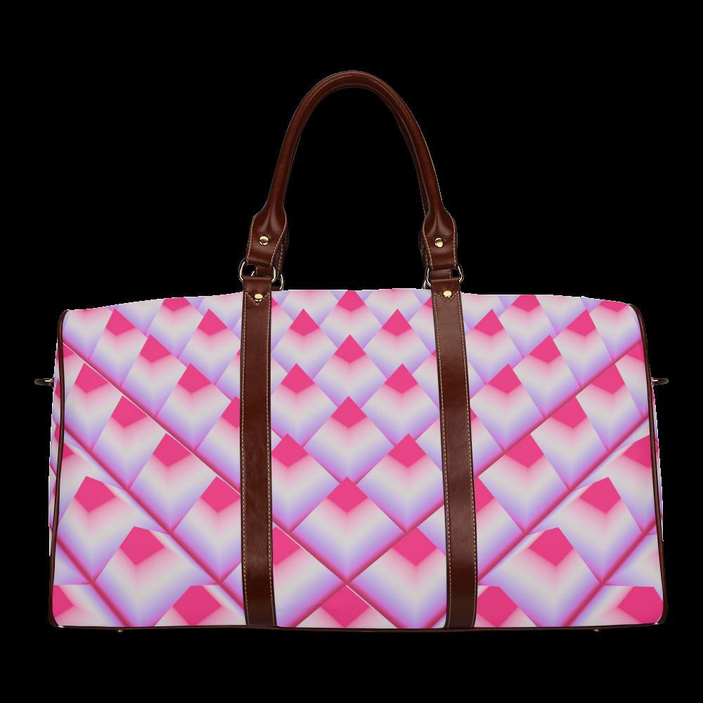 Pink 3D Pyramids Waterproof Travel Bag/Large (Model 1639)