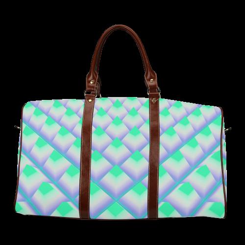 Green 3D Pyramids Waterproof Travel Bag/Large (Model 1639)