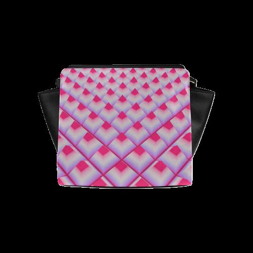 Pink 3D Pyramids Satchel Bag (Model 1635)