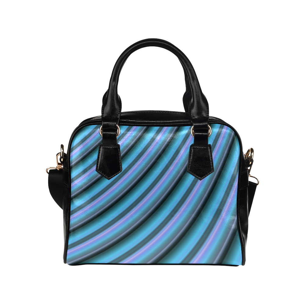 Glossy Light Blue Gradient Stripes Shoulder Handbag (Model 1634)