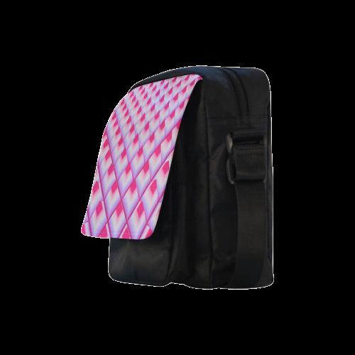 Pink 3D Pyramids Crossbody Nylon Bags (Model 1633)