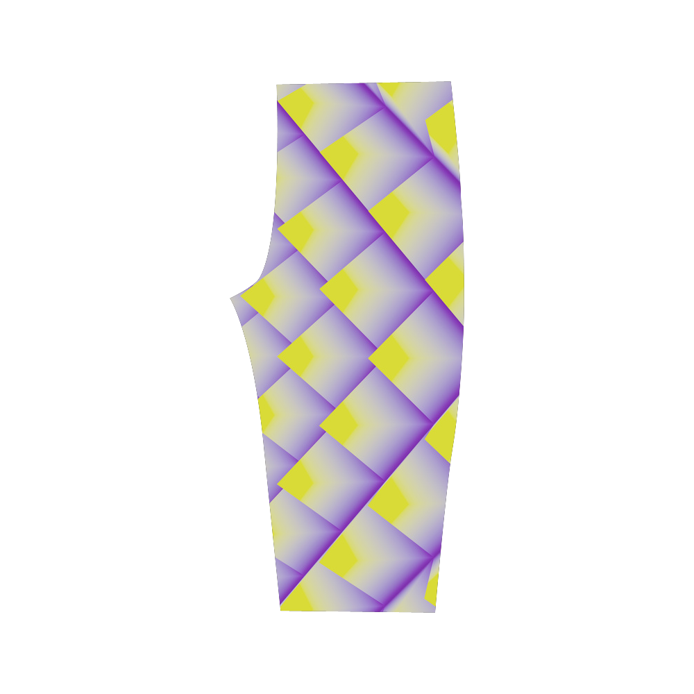 Yellow and Purple 3D Geometric Pyramids Hestia Cropped Leggings (Model L03)
