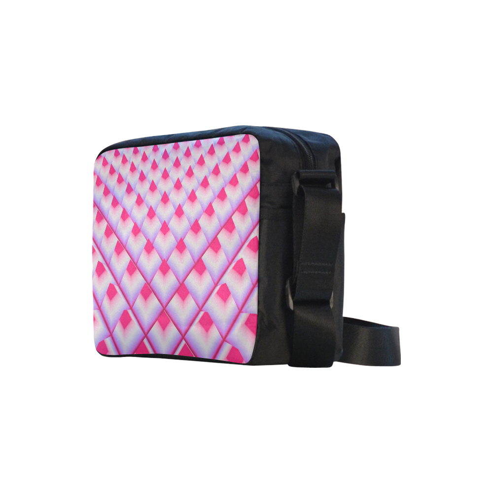 Pink 3D Pyramids Classic Cross-body Nylon Bags (Model 1632)