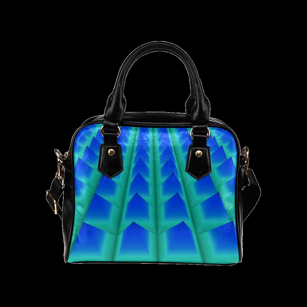 Blue and Green 3D Pyramids Shoulder Handbag (Model 1634)