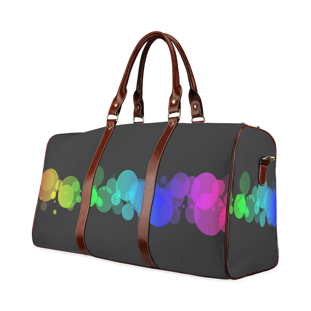 Rainbow Bokeh Glitter Discs Waterproof Travel Bag/Large (Model 1639)
