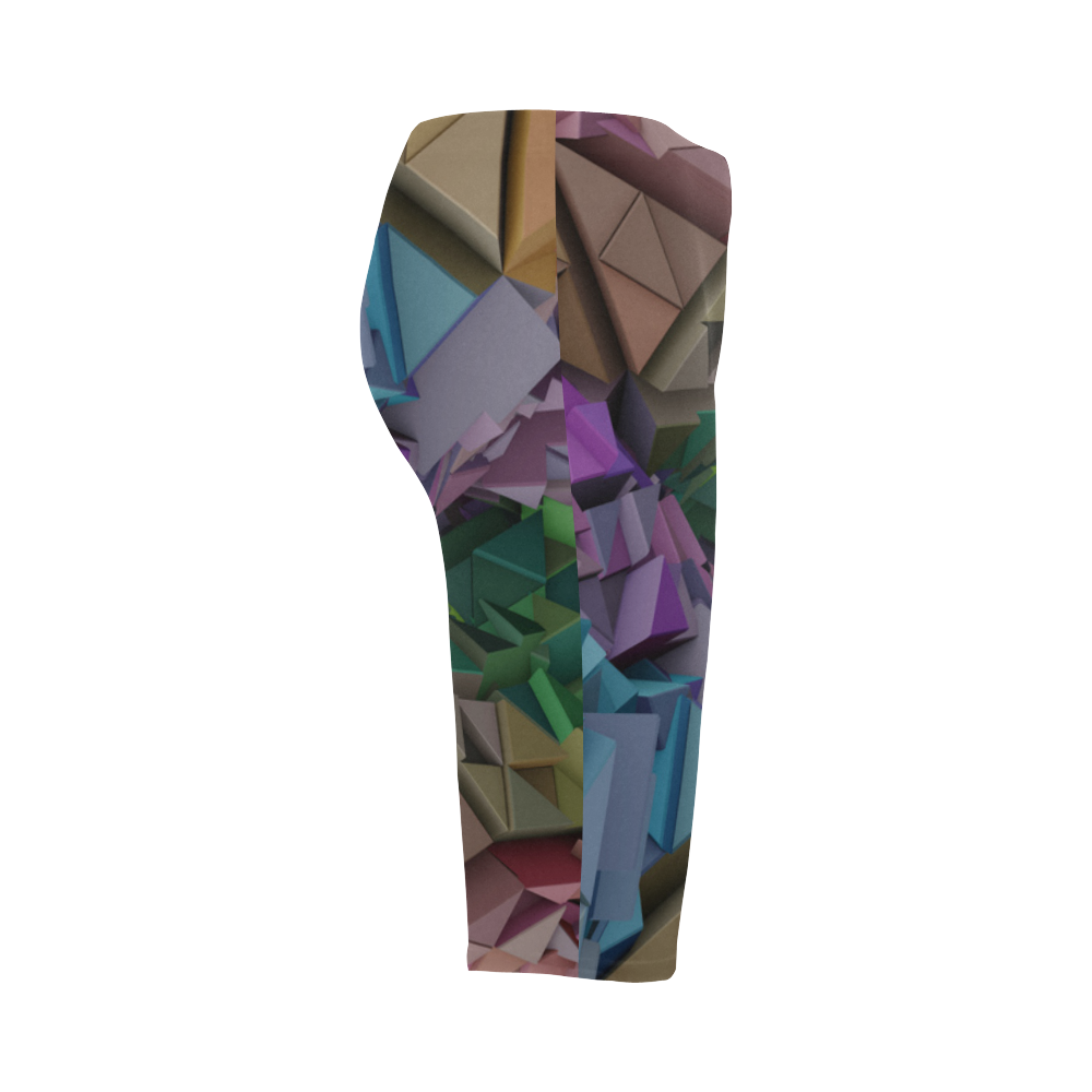 Colorful 3D Low Poly Abstract Geometric Shapes Hestia Cropped Leggings (Model L03)