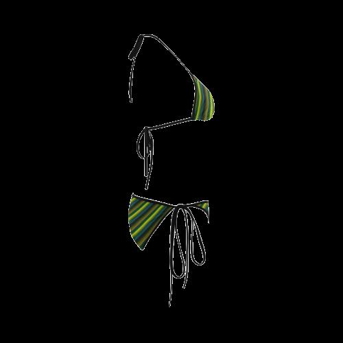 Glossy Lime Green Gradient Stripes Custom Bikini Swimsuit
