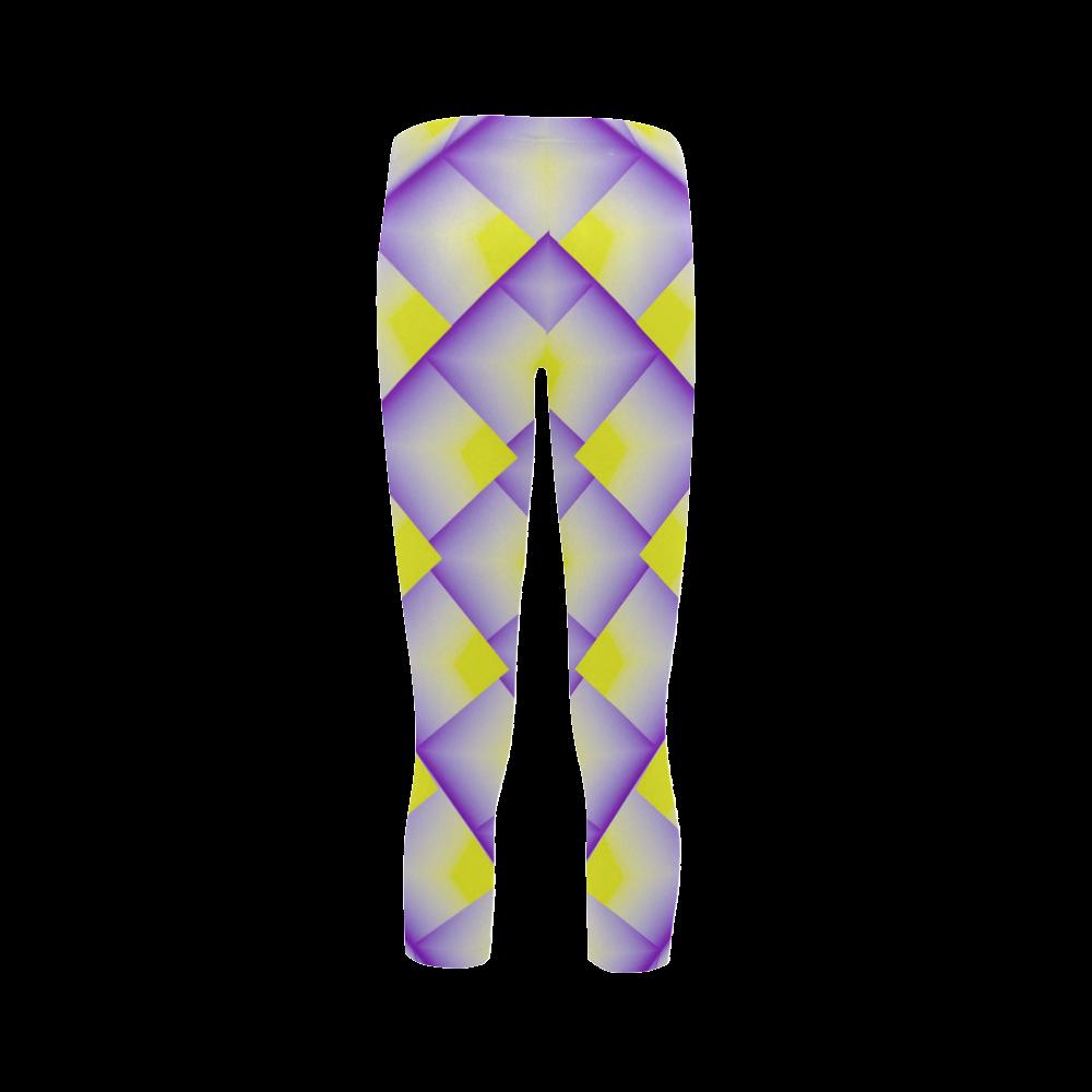Yellow and Purple 3d Geometric Pyramids Capri Legging (Model L02)