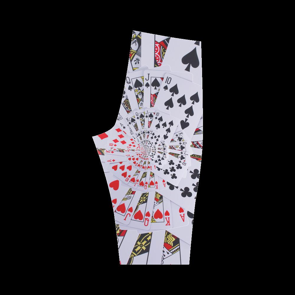Royal Flush Poker Cards Spiral Droste Hestia Cropped Leggings (Model L03)