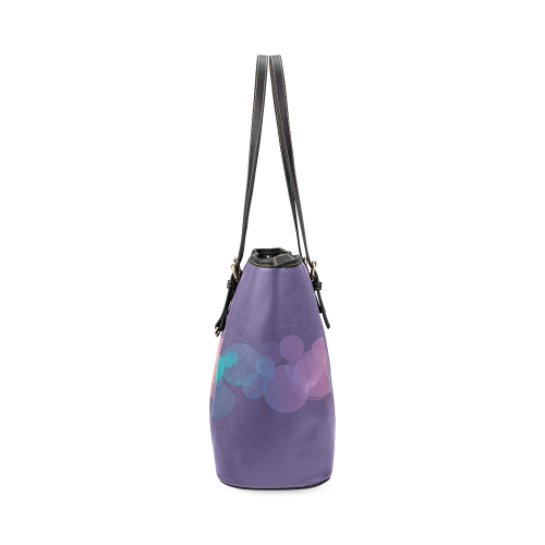 Colorful Bokeh Glitter Discs Leather Tote Bag/Small (Model 1640)