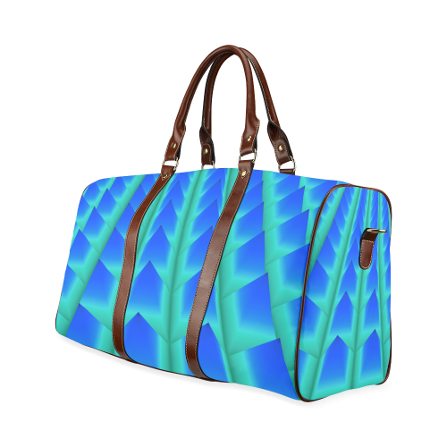 Blue and Green 3D Pyramids Waterproof Travel Bag/Large (Model 1639)
