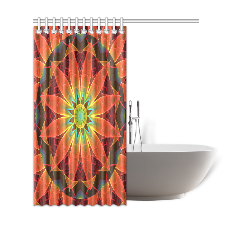 "Radiance and Light, Orange Brown Awakening Shower Curtain 69""x72"""