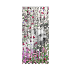 "Violet in Flowers West Highland White Terrier Dog Window Curtain 50"" x 108""(One Piece)"