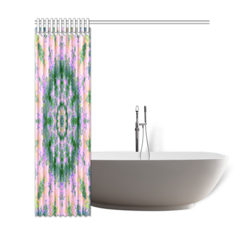 """Rose Pink Green Explosion of Flowers Mandala Shower Curtain 69""""x72"""""""