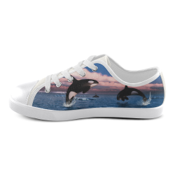 Killer Whales In The Arctic Ocean Canvas Kid's Shoes (Model 016)