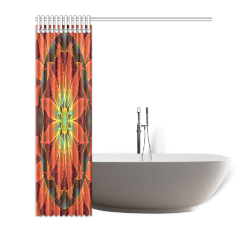 "Radiance and Light, Orange Brown Awakening Shower Curtain 72""x72"""