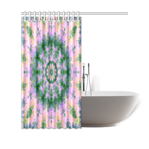 "Rose Pink Green Explosion of Flowers Mandala Shower Curtain 69""x70"""