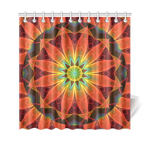 "Radiance and Light, Orange Brown Awakening Shower Curtain 69""x70"""
