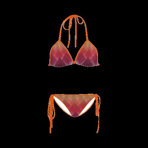 Glowing Red 3D Pyramids Custom Bikini Swimsuit