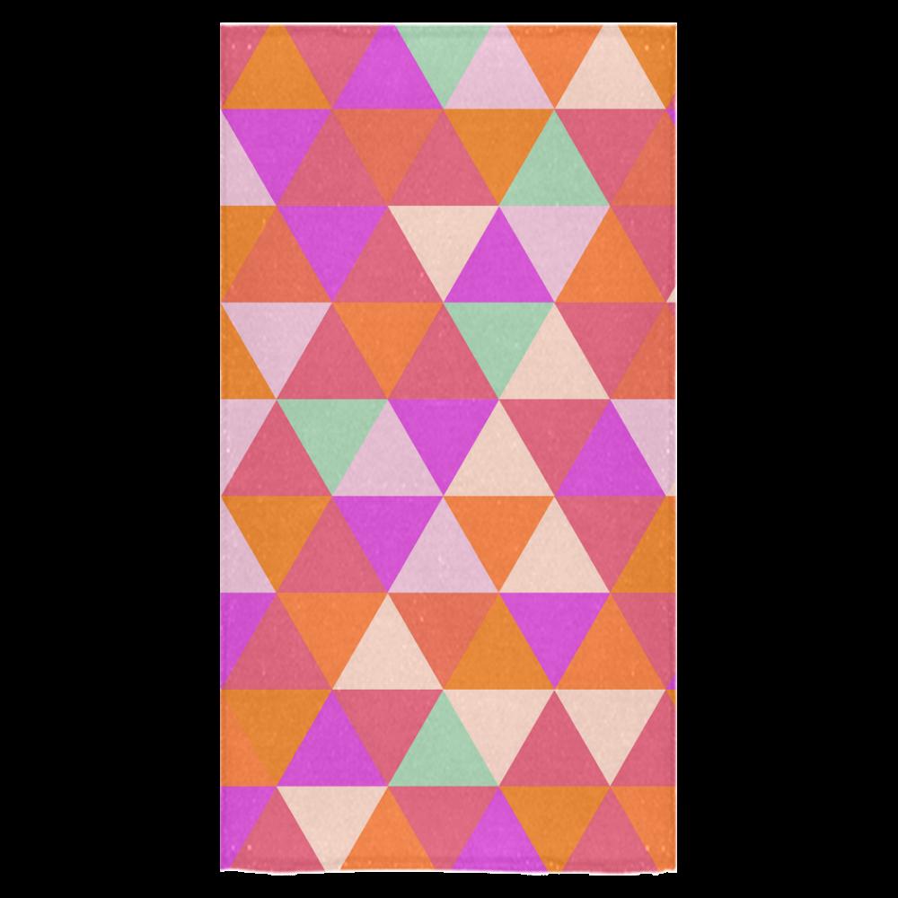 "Orange Geometric Triangle Pattern Bath Towel 30""x56"""