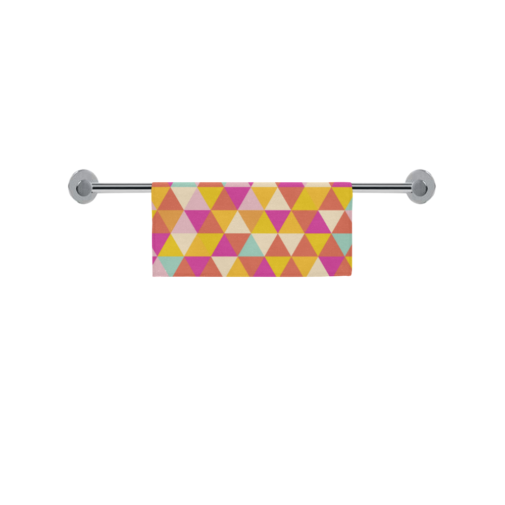 "Yellow Geometric Triangle Pattern Square Towel 13""x13"""