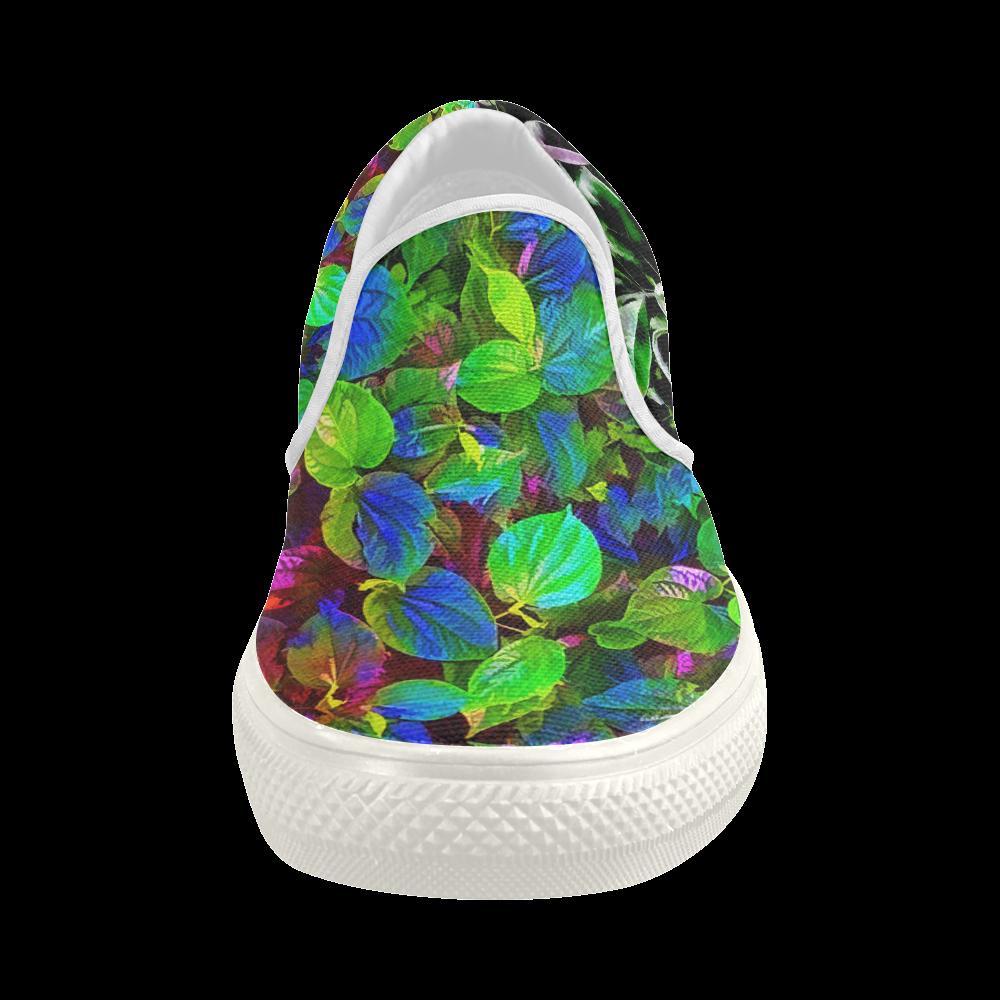 Foliage #7 - Jera Nour Women's Slip-on Canvas Shoes (Model 019)
