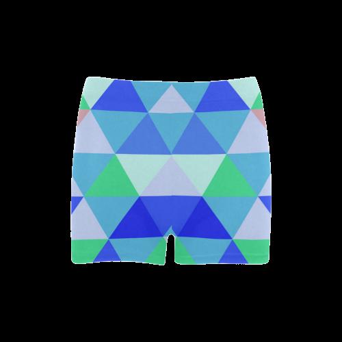 Blue Geometric Triangle Pattern Briseis Skinny Shorts (Model L04)