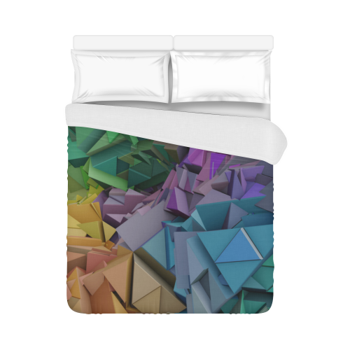 "Colorful 3d Abstract Low Poly Duvet Cover 86""x70"" ( All-over-print)"