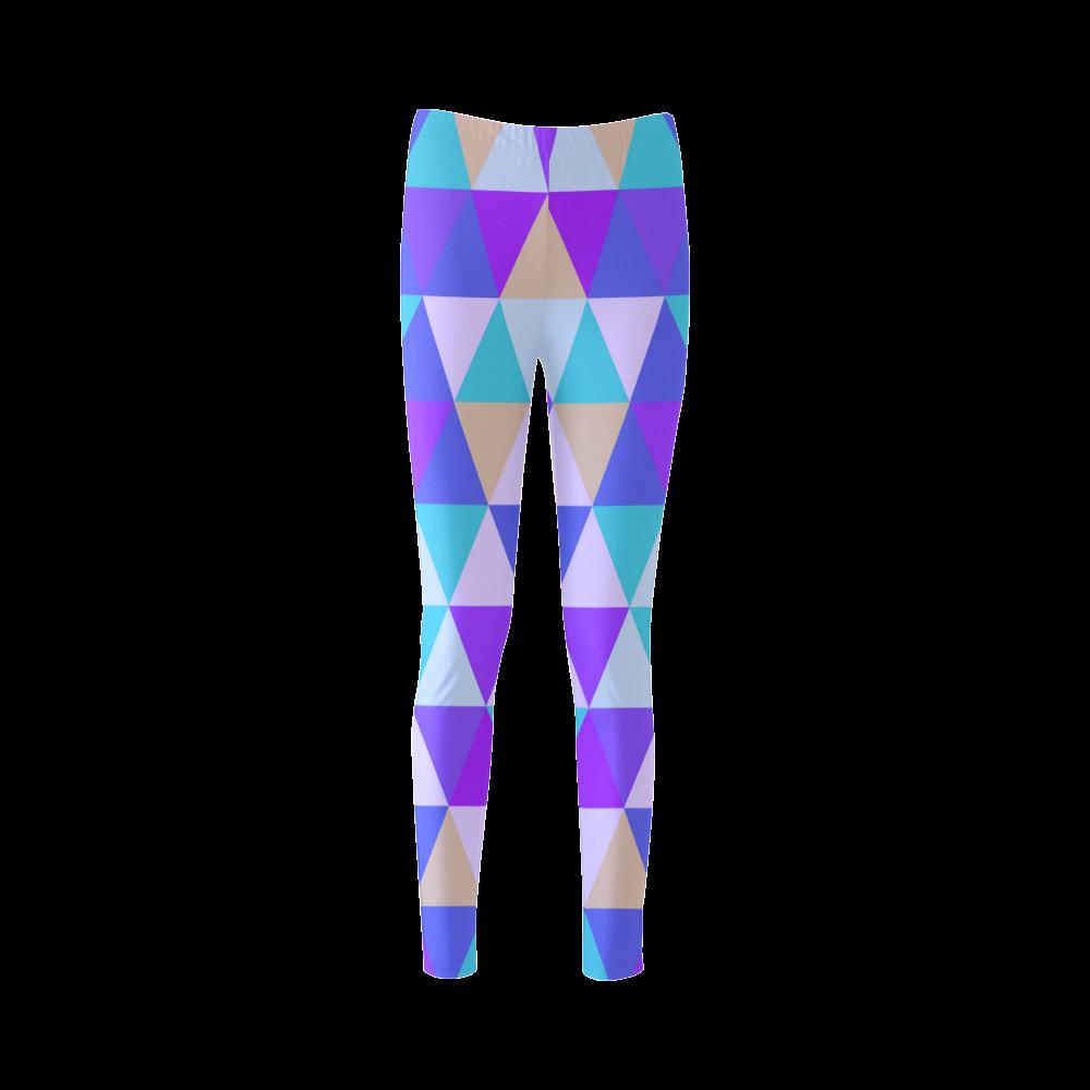 Purple Geometric Triangle Pattern Cassandra Women's Leggings (Model L01)