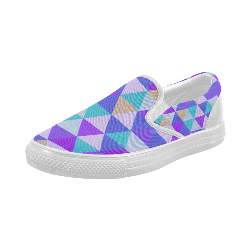 Purple Geometric Triangle Pattern Women's Slip-on Canvas Shoes (Model 019)