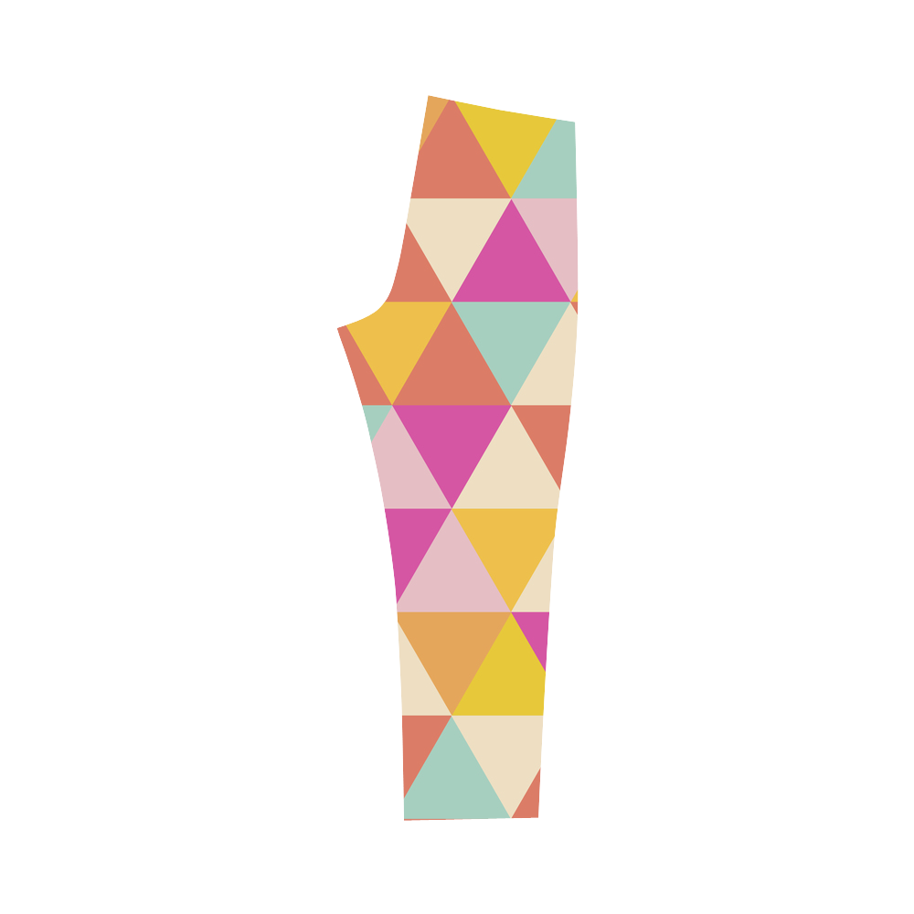 Yellow Geometric Triangle Pattern Capri Legging (Model L02)