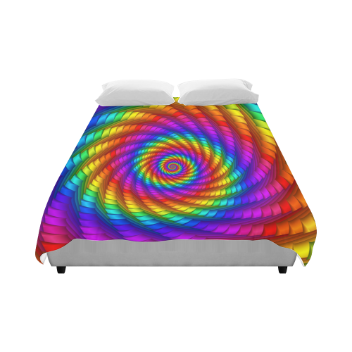 """Psychedelic Rainbow Spiral Duvet Cover 86""""x70"""" ( All-over-print)"""