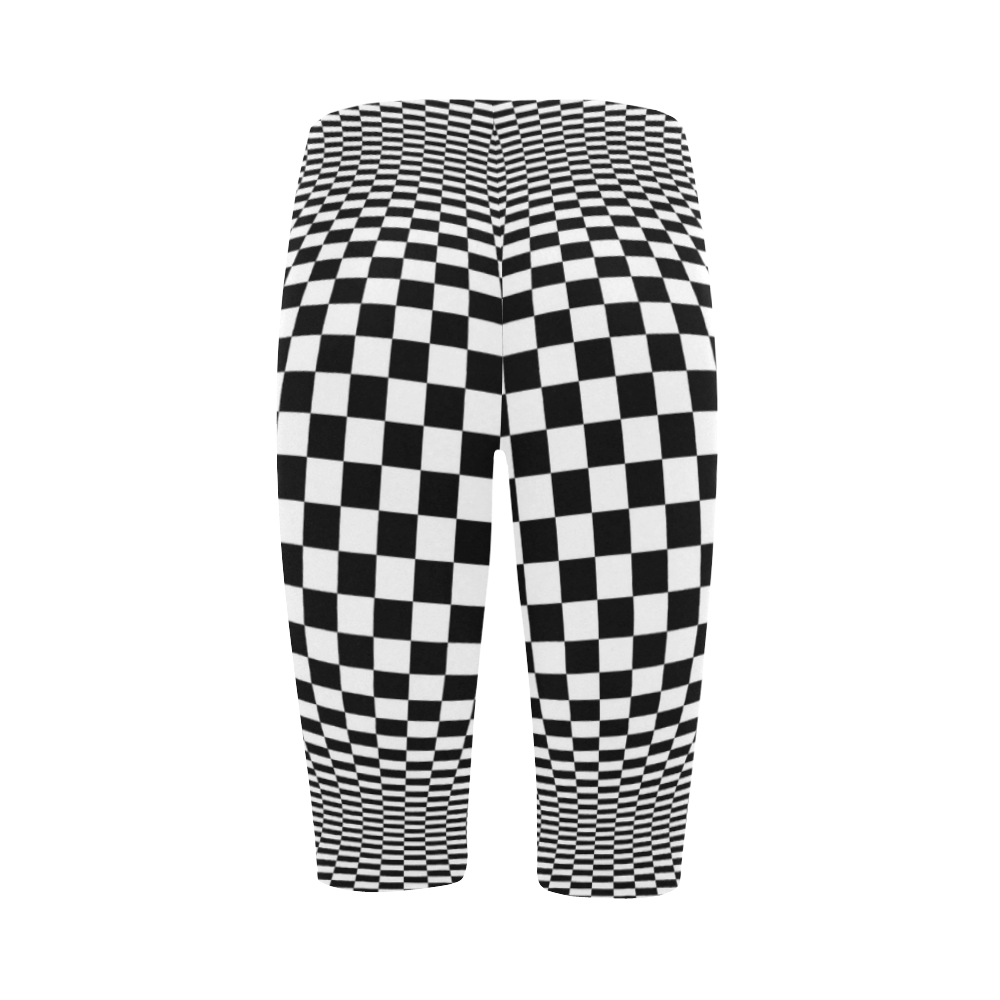 Optical Illusion Checkers Chequers Hestia Cropped Leggings (Model L03)