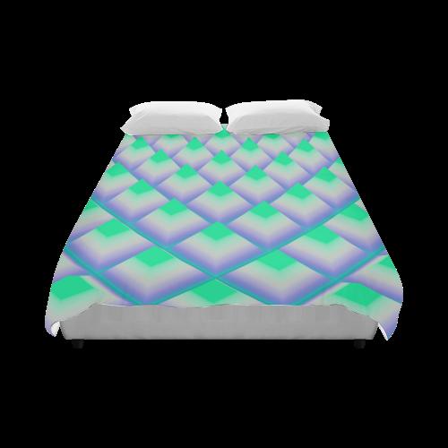 "Neon Green 3d Pyramids Duvet Cover 86""x70"" ( All-over-print)"