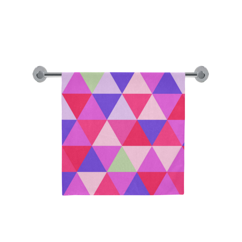 "Pink Geometric Triangle Pattern Bath Towel 30""x56"""