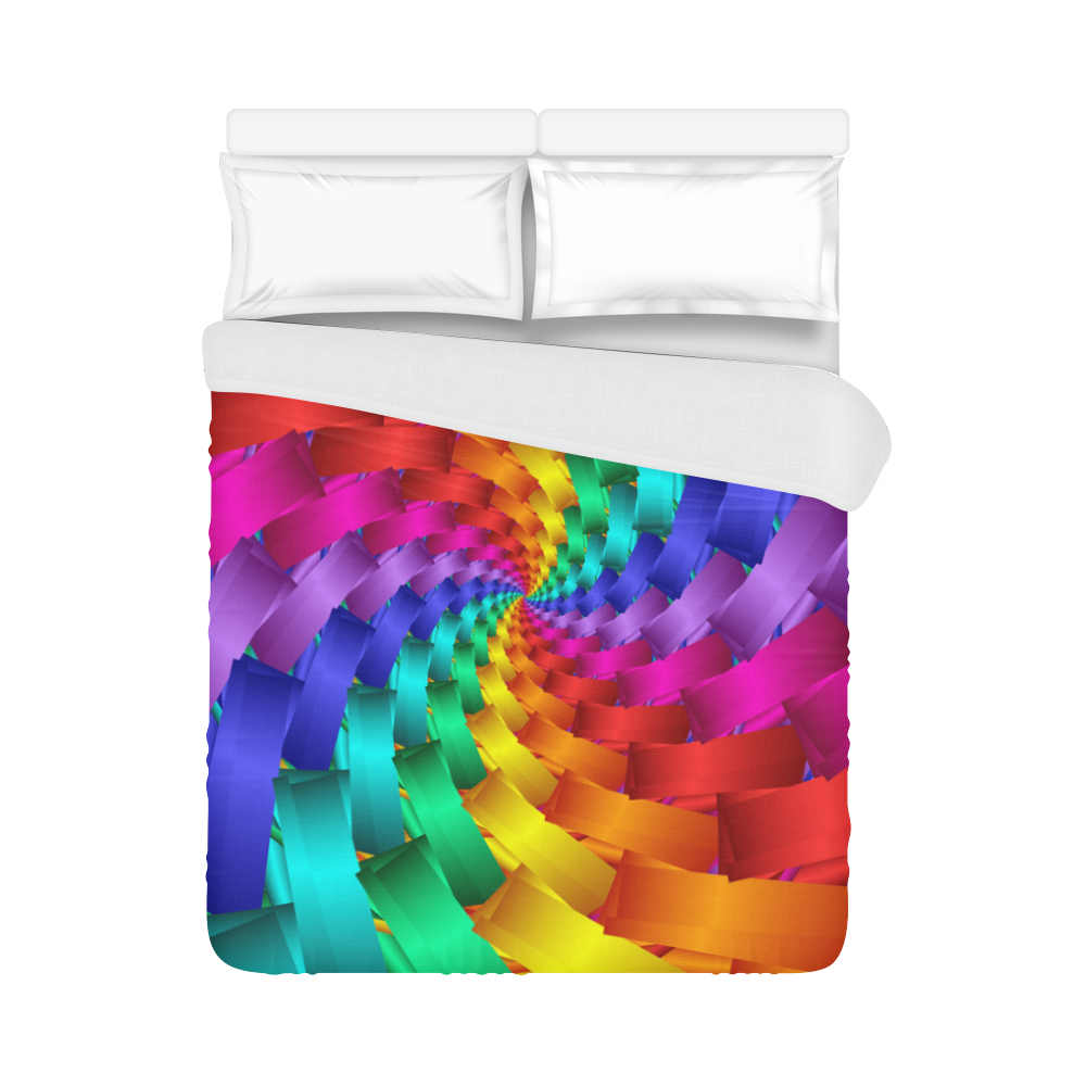 """Psychedlelic Rainbow Spiral Duvet Cover 86""""x70"""" ( All-over-print)"""