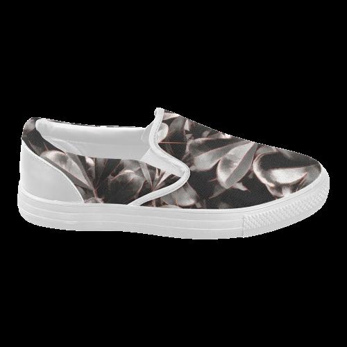 Foliage #1 Red Edge - Jera Nour Women's Slip-on Canvas Shoes (Model 019)
