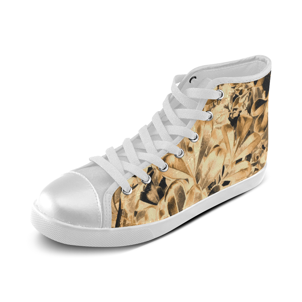 Foliage #2 Gold - Jera Nour Women's High Top Canvas Shoes (Model 002)