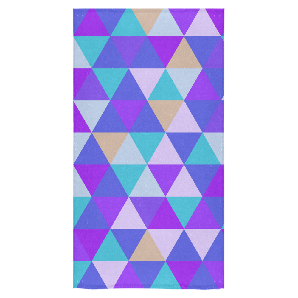 "Purple Geometric Triangle Pattern Bath Towel 30""x56"""
